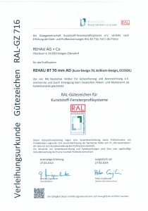 Профильные системы REHAU сертифицированы по стандартам RAL