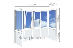 Цена на французское остекление П-образного балкона под ключ в Киеве
