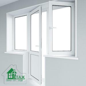 Металлопластиковый балконный блок РЕХАУ с двумя окнами по боках