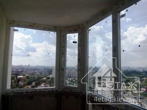 Остекление полукруглого балкона с выносом Киев от компании